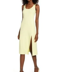 Leith scoop neck mido dress with side slit